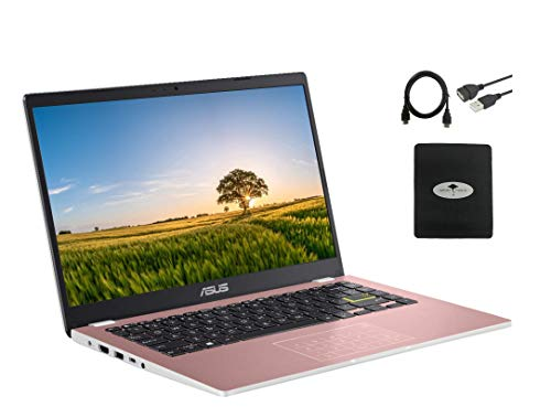 """2021 Newest ASUS 14"""" Thin Light Student Laptop, Intel Celeron N4020 (up to 2.8GHz), 4GB DDR4 RAM, 128GB eMMC, 12Hours Battery Life, Webcam, Zoom Meeting, Win10, Pink w/GM Accessories"""