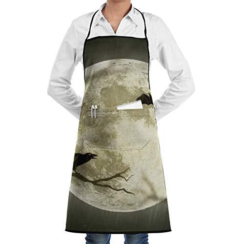 NA Cocina Chef Delantal con Peto Noche Bat Cuello Cintura Corbata Centro Canguro Bolsillo Impermeable