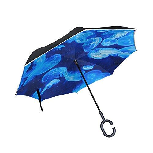 Ahomy Doppelschichtiger umgekehrter Regenschirm, Quallen-Umkehr, Faltbarer Regenschirm für Auto und Außenbereich, mit C-förmigem Griff und Tragetasche
