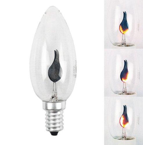 10 x Glühlampe Deko Lampe Flackerkerze E14 3W 3 Watt klar 230V flackernde Kerze