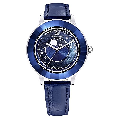 Swarovski Octea Lux Uhr, Mond, Lederarmband, Blau, Edelstahl