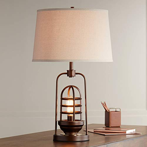 Hobie Industrial Table Lamp with Nightlight Antique LED...
