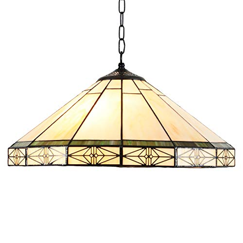 Capulina Tiffany Hanging Lamp Stained Glass Pendant Light Fixtures Kitchen Island Lighting 2 Light 16 inch Deco for Dining Room Kitchen