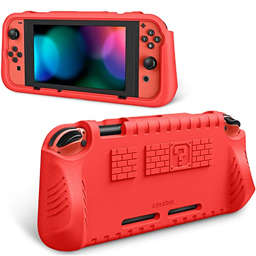 Fintie Kids Case Compatible with Nintendo Switch w/2 Game Card Slots - [Ultralight] [Shockproof] Protective Cover with Ergonomic Grip, Kids Friendly Grip Case for Switch Console (Red)