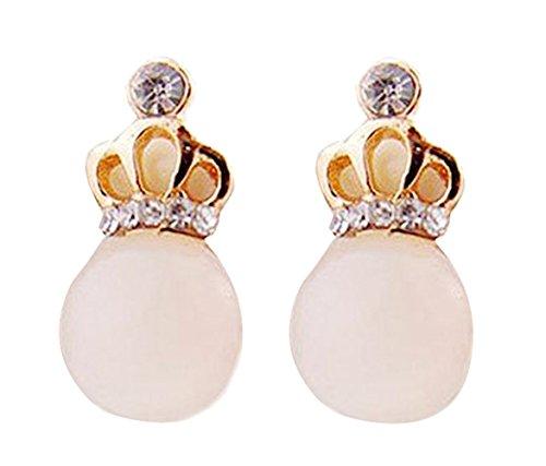 Demarkt Oorringen, kristal, diamant, opaal, ronde cirkel, oorringen, sieraden, steker, hangend, voor dames met kleine kroon