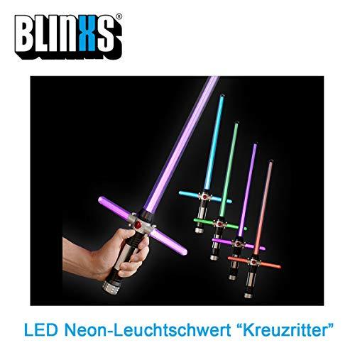 BLINXS LED Leuchtschwert / Lichtschwert / Laserschwert Kreuzritter in Neonfarben Leuchtend mit Farbwechsel- und Blinkfunktion - ideal für Kinder zum Ritter-Kostüm, Fasching oder Karneval