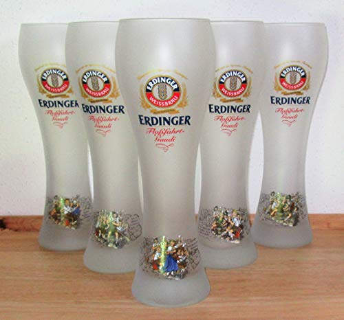 Erdinger / Bierglas/Weißbierglas/weiß satiniert/Floßfahrt-Gaudi/Komplette Edition