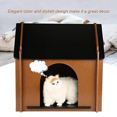 Caseta de Gatos de Madera, Casa para Mascotas Plegable Suave y Cálido de Desmontable Decorativo Caseta de Perro Resistente al Invierno para Jardín y Interior