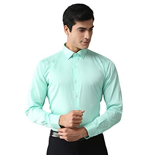 EPPE Men's Green Satin Solid Full Sleeve Smart Fit Shirt