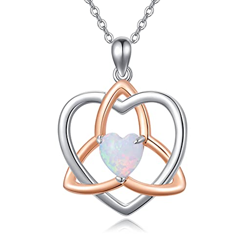 Celtic Knot Necklace 925 Sterling Silver Luck Irish Pendant Necklace with Heart Opal, Celtic Jewelry Irish Gifts for Women Girl Birthday Christmas