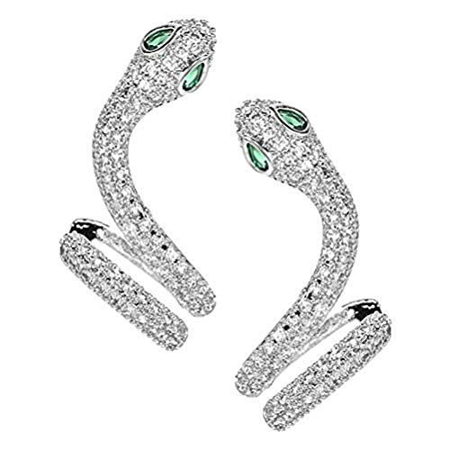 Fikujap Creative Personality Micro-Inlaid Zircon Snake-Shaped Earrings Female 925 Sterling Silver Needle Stud Earrings Simple Temperament Snake-Shaped Earrings,Silver