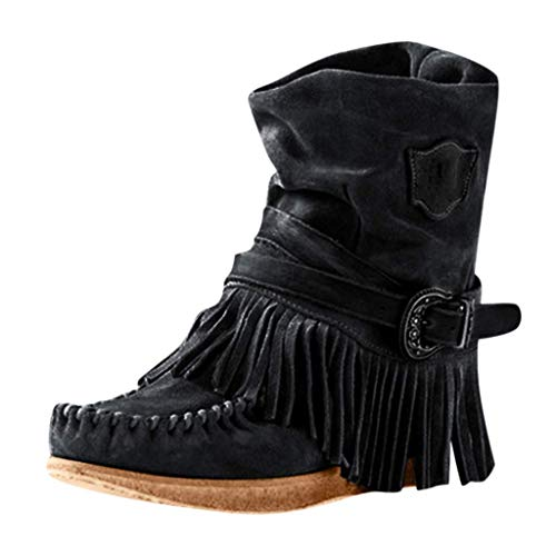 CLDREAM Women Boots, Retro Round Toe Fringe Buckle Strap Ankle Boots Short Boots Low Heel Rome Flat Shoes Tassel Buckle Knight Ankle Booties Shoes