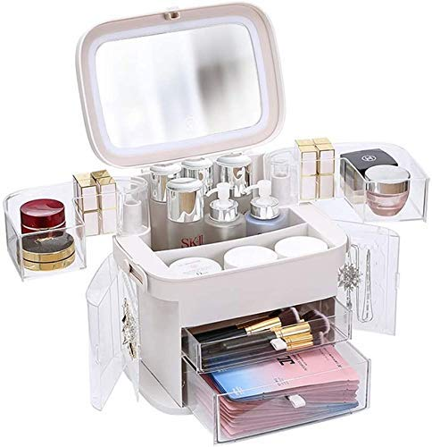 KCGNBQING Makeup Organizer, Modern Jewelry And Cosmetic Storage Display Boxes with Led Lighted Mirror, Multifunction Makeup Case Cosmetic Storage for Bathroom, Dresser, Vanity And Countertop Cosmetic
