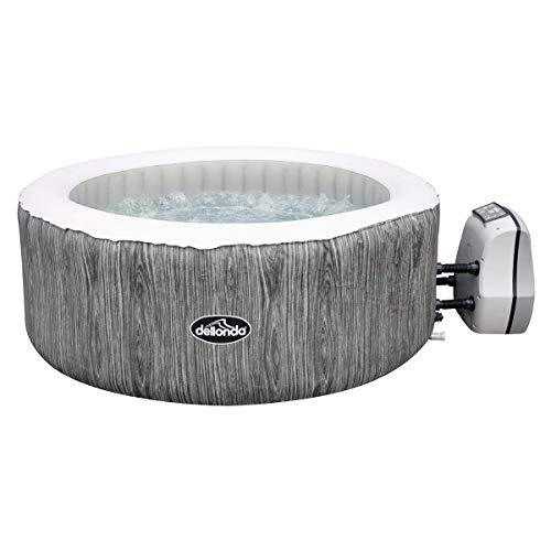 Dellonda 2-4 Person Inflatable Hot Tub Spa with Smart Pump - Wood Effect