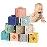 ZIDA Babyblöcke mit Weiche Bausteine Babyspielzeug, Beißringe Pädagogische Bunte 3D Soft Squeeze Babyblöcke für Baby ab 6 Monate und Mehr 12PCS