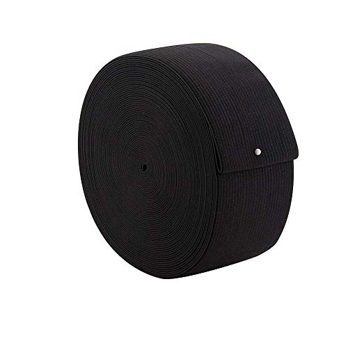 Dreamlover Black Elastic Spool Elastic Sewing Band for Wigs Waistband Underwear Pants Shoes Sheets Costumes Craft DIY Projects (2 Inch x 12 Yard)