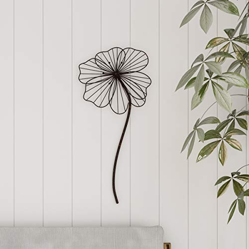 Lavish Home Wall Decor-Rustic Metal Wire Stemmed Flower Sculpture Hanging Accent Art for Living
