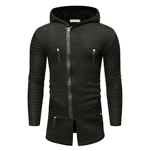 ZY Glaa Men Jacquard Sweater Men Sports and Fitness Cardigan Hooded Jacket Winter Fleece Jacket Thick Warm Coat Multi Pocket Military Jacket with Removable Hood Mens Hooded Jacket