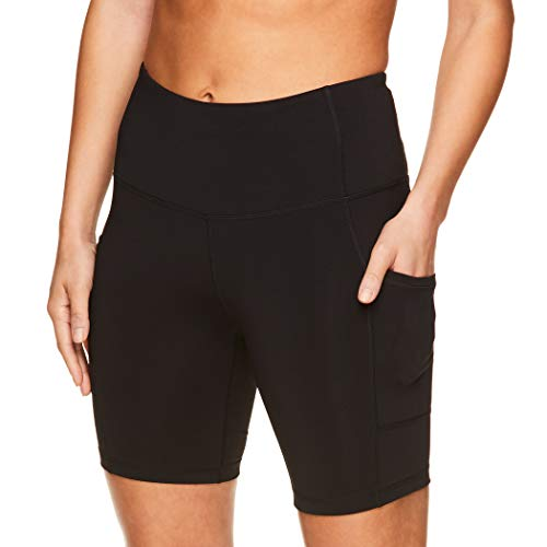 Reebok Women's Compression Running Shorts - High Waisted Performance Gym Yoga & Workout Bike Short - 7 Inch Inseam - Black Foundation High Rise, X-Small