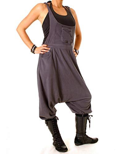 Vishes - Alternative Bekleidung - Warme Damen Fleece Thermo Latzhose Haremshose grau 44/46