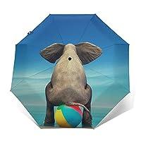 ワンタッチ 自動開閉折りたたみ傘 折り畳み傘象 転写プリント カジュアル メンズレディース傘uvカット 紫外線遮蔽 折り畳み傘
