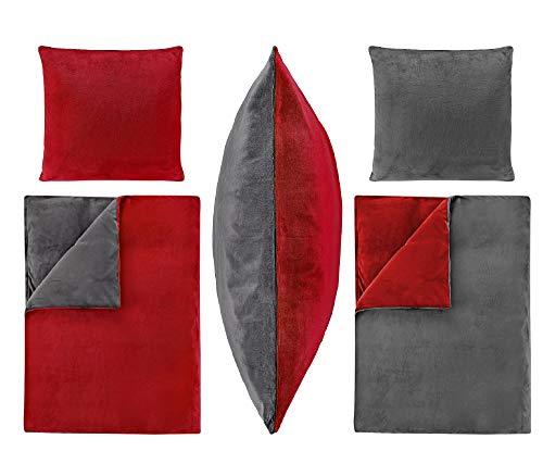 Dresscode 2-Teilige Bettwäsche Set 155x220 80x80 PLÜSCH Coral Fleece Cashmere Touch Super Soft Einfarbig Uni Wende Anthrazit Rot