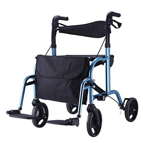 CHenXy Älterer Wanderer Aluminiumlegierungs-gehender Armlehnen-Rahmen mit den Rädern mit den Pedalen, die mit Einkaufstasche höhenverstellbar sind, maximale Last 136kg, blau medizinische Walker