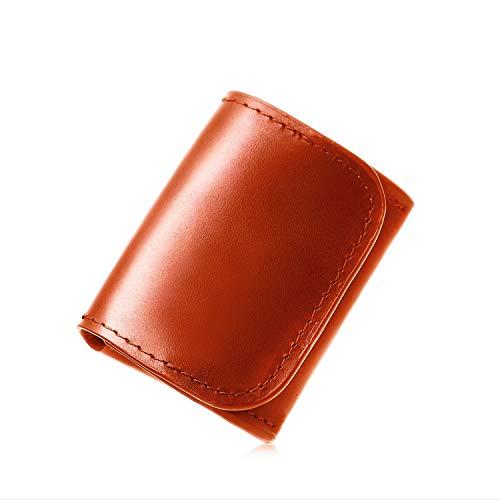 [Le sourire] 極小 小銭入れ ビジネスマンの小さな本革 コインケース コンパクト メンズ ルスリール キャメル