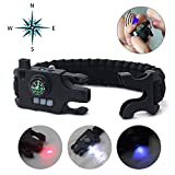 Paracord Bracelet Survival Rechargeable Survival Wirst with LED Flashlight,Compass,Emergency Loud Whistle,Laser Infrared Bracelet