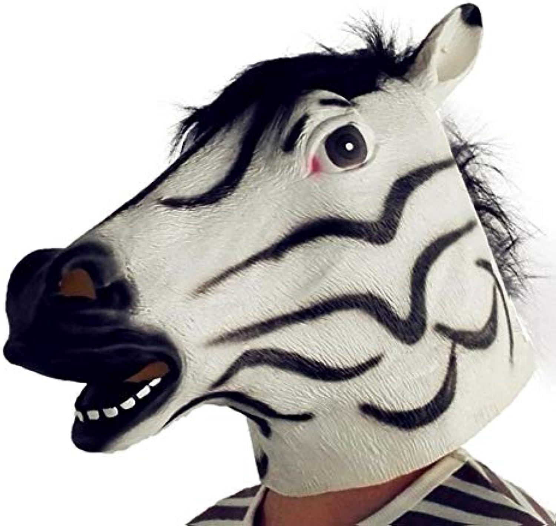 WasJmu Horse Unicorn Animal Head Mask Creepy Halloween Costume Theater Prop Novelty Party Masks Latex Donkey Zebra Horse Head Mask,rainbow unicorn