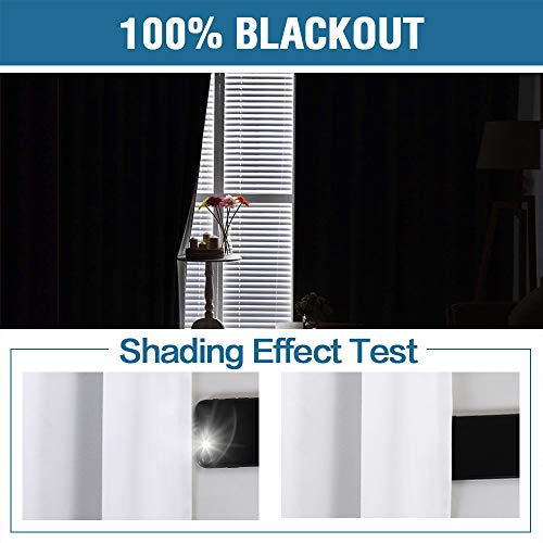 100% Blackout White Curtains for Bedroom 84 Inches Long, Thermal Insulated Blackout Curtains for Living Room, Light Blocking & Energy Saving Double Layer Curtains 2 Panel White, Grommet Top