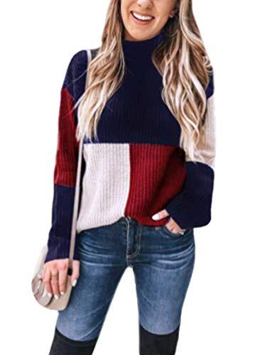 Pullover Punto Mujer Moda Joven Patchwork Tejer Arriba Top Pullover Manga Larga High Collar Casual Suéter De Punto para Otoño Invierno (Azul,L)