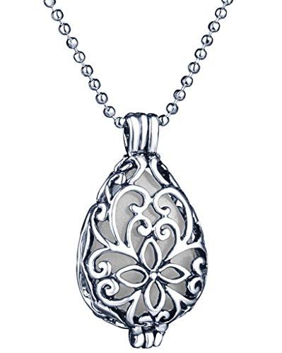 Yumilok Hohle Tropfenform Herz Medaillon Nachtleuchtend Anhänger Halskette Legierung Amulett Kettenänhanger für Damen Mädchen, Grünes Licht