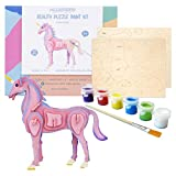 Allessimo 3D Paint Puzzle Reality Wooden (Unicorn - 30pcs) Model Paint Kit with Brush Toys for Kids Puzzle Build 3D Puzzles Educational Crafts Building DIY