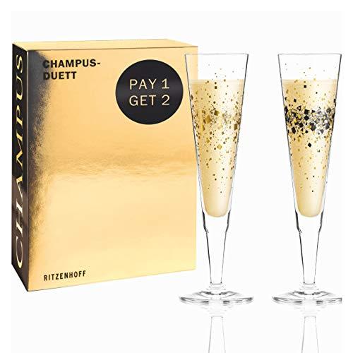RITZENHOFF 6030001 Champus Champagnerglas-Set, Glas, 200 milliliters, Gold, Schwarz
