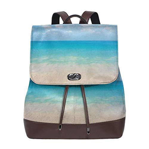 Women's Leather Backpack,Dreamy Hot Tropical Sea Coast with Soft Waves and Sunny Sky Landscape Nature Life,School Travel Girls Ladies Rucksack