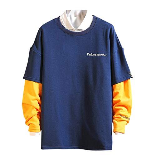 Heren Gesplitste Nep Tweedelige Jas Sweatshirt Comfortabele Grote Maat Pullover