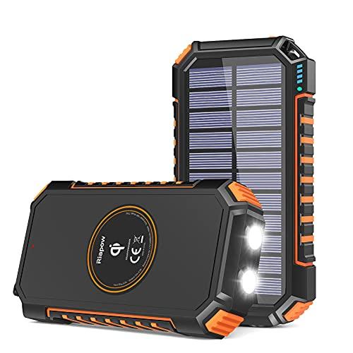 Solar Charger 26800mAh, Riapow Solar Power Bank 4...
