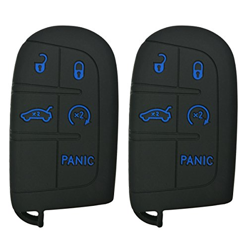 2Pcs Coolbestda Rubber 5 Buttons Smart Key Fob Protector Remote Skin Cover Case Keyless Jacket for Jeep Grand Cherokee Dodge Challenger Charger Dart Durango Journey Chrysler 300