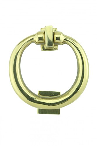 Solid Brass Ring Entry Door Knocker 4 1/2 Inch Height X 4 Inch. Width