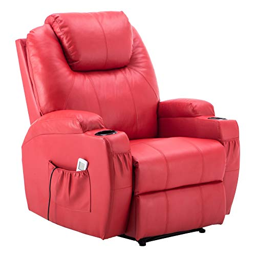 Mcombo Electric Power Recliner Chair Sofa with Massage and Heat for Living Room, 2 Positions, 2 Side Pockets and Cup Holders, Faux Leather 7050 (Red)