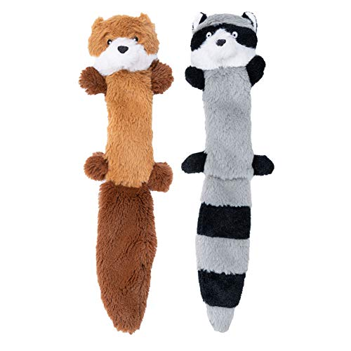 JOYELF Plush Squeaky Dog Toy,tuffed Animals for Dog,Fox and Raccoon with Crinkle Paper