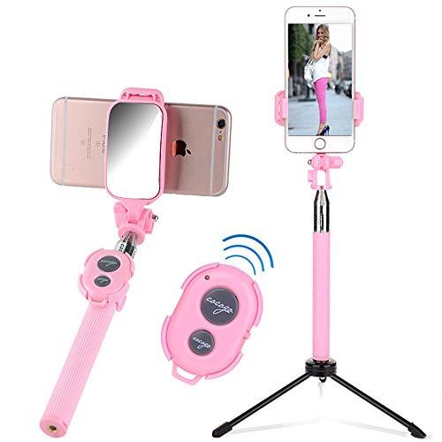 Xxw lamp RVS Universele Zelfontspanner Draadloze Bluetooth Afstandsbediening Statief Mobiele Telefoon Live Photo Artifact, roze