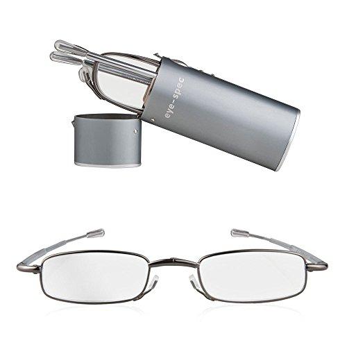 Faltbare Lesebrille, lässt sich zusammenklappen und im mitgelieferten Hartschalen-Taschenetui in Graphit transportieren. Ultraleicht und in 9 Sehstärken verfügbar | eye-spy Qualitäts-Faltbrillen von eye-spec