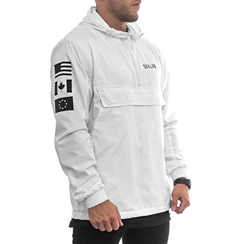 Sixlab Trademark Zipper Jacke Übergangsjacke Lifestyle Gym Fitness (L, Weiß)