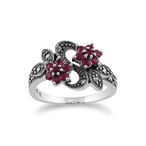 Gemondo Jugendstil Ring, 925 Sterlingsilber 0,58 CT Rubin & Markasit Blume Ring