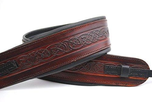 UK Made Brown Embossed Celtic Real Leather Cradle Banjo Strap