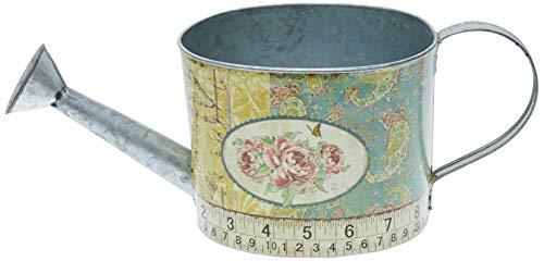 Better & Best 2361072 Regadera de Lata Ovalada, con Dibujo de Rosas y Cinta métrica, Color Azul y Amarillo, 34x12x13 cm