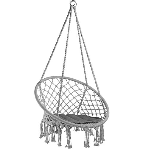 TecTake 800689 Hängesessel zum Aufhängen, inkl. bequemes Sitzkissen, max. 100 kg belastbar, für draußen und drinnen geeignet - Diverse Farben - (Grau | Nr. 403116)