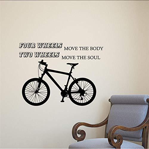 Calcomanía de pared de bicicleta cita motociclista garaje pegatina de vinilo ruedas decoración decoración del hogar extraíble decoración de la pared pegatina de pared 58 X 78 Cm